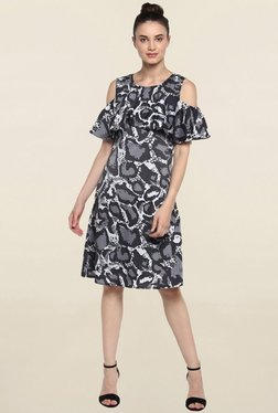 Color Cocktail Grey Cold Shoulder Printed Knee Length Dress