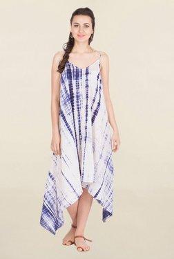 ANS White & Blue Tie - Dye Knee-Length Asymmetric Dress