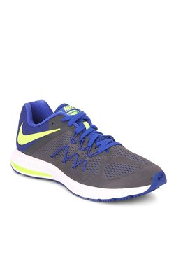 043506427213 Nike Zoom Winflo 3 Charcoal Grey   Blue Running Shoes