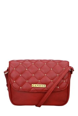 Caprese Sangria Crimson Red Riveted Quilted Sling Bag