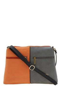Esbeda Drymilk Tan & Grey Color Block Synthetic Sling Bag