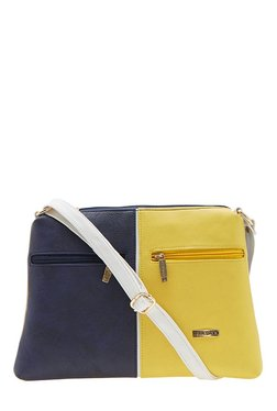 Esbeda Drymilk Navy & Yellow Color Block Synthetic Sling Bag