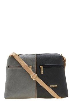 Esbeda Drymilk Grey & Black Color Block Synthetic Sling Bag
