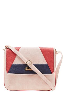 Esbeda Drymilk Pink & Red Color Block Synthetic Sling Bag