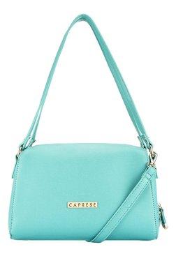 Caprese Sydney Turquoise Solid Bowler Shoulder Bag