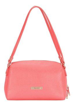 Caprese Sydney Coral Pink Solid Bowler Shoulder Bag