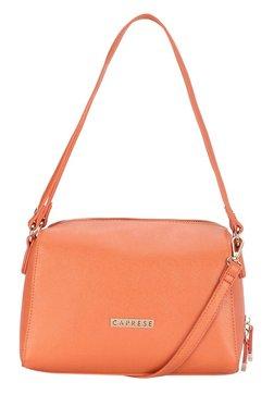 Caprese Sydney Orange Solid Bowler Shoulder Bag