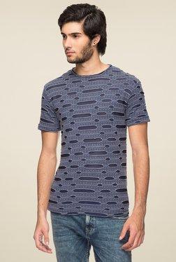 Yoo Navy Round Neck Regular Fit T-Shirt
