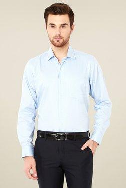 Van Heusen Sky Blue & White Cotton Checks Slim Fit Shirt