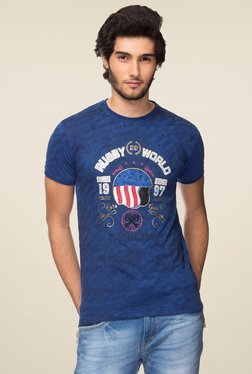 Yoo Men's Printed Indigo T-Shirt