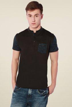 Van Heusen Black Half Sleeves Printed Cotton T-Shirt