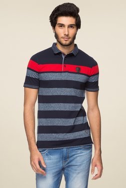 Yoo Black & Red Half Sleeves Striped Polo T-Shirt