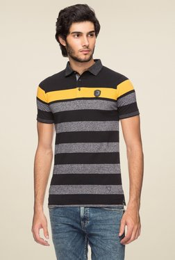 Yoo Black & Yellow Half Sleeves Striped Polo T-Shirt