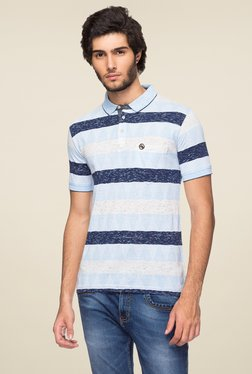 Yoo Blue Half Sleeves Striped Polo T-Shirt