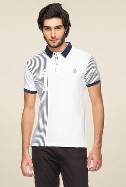 Yoo White Half Sleeves Striped Polo T-Shirt