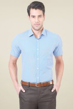 Peter England Turquoise Half Sleeves Checks Shirt