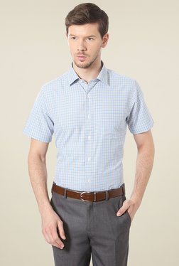 Peter England Blue & White Half Sleeves Checks Shirt