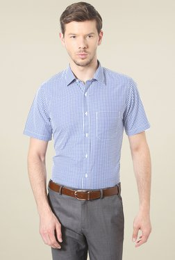 Peter England Dark Blue & White Half Sleeves Checks Shirt