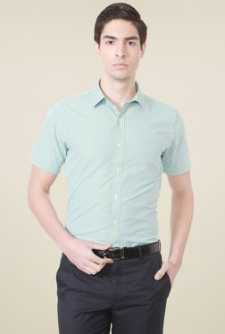 Peter England Green Half Sleeves Checks Shirt