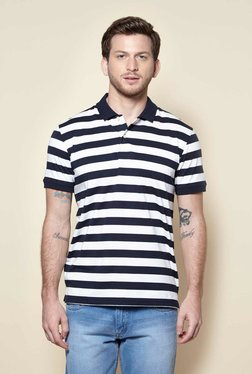 Zudio White Polo Neck Slim Fit T-Shirt