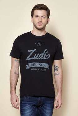 Zudio Black Crew Neck Regular Fit T-Shirt - Mp000000001723538