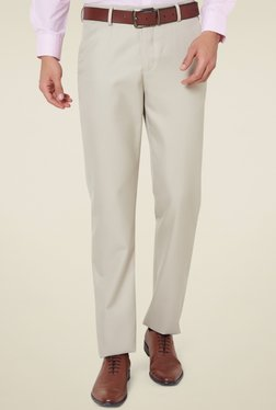 Peter England Beige Comfort Fit Flat Front Trousers