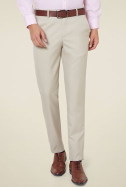 Peter England Beige Slim Fit Flat Front Trousers