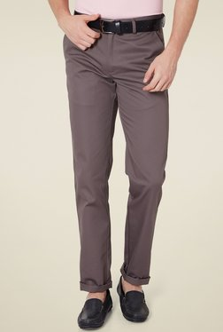 Peter England Taupe Slim Fit Flat Front Trousers