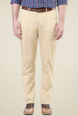 Peter England Cream Slim Fit Flat Front Cotton Trousers