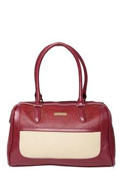 Addons Maroon & Beige Textured Bowler Handbag