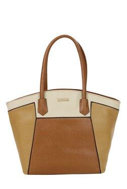 Addons Tan & Brown Color Block Shoulder Bag