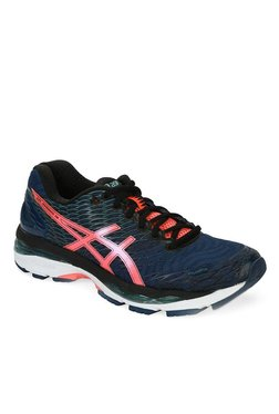 Asics Gel-Nimbus 18 Navy & Flash Coral Running Shoes