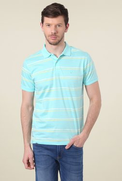 Allen Solly Turquoise Half Sleeves Striped Polo T-Shirt