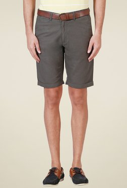 Allen Solly Dark Grey Mid Rise Slim Fit Linen Blend Shorts