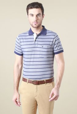 Allen Solly Blue Half Sleeves Striped Polo T-Shirt