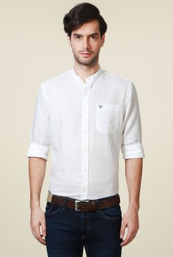 Allen Solly White Band Collar Slim Fit Shirt