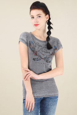 Pepe Jeans Grey Short Sleeves Printed Cotton T-Shirt