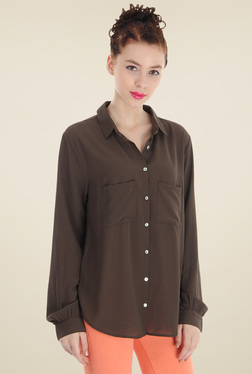 Pepe Jeans Dark Brown Slim Fit Cotton Shirt