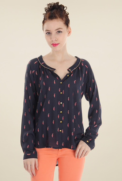 Pepe Jeans Dark Blue Round Neck Cotton Top