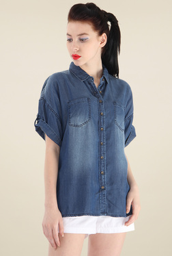 Pepe Jeans Blue Short Sleeves Cotton Shirt
