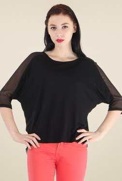 Pepe Jeans Black Round Neck 3/4th Sleeves Top