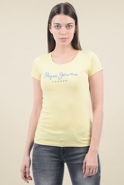 Pepe Jeans Yellow Cotton Round Neck T-Shirt