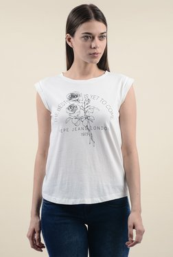 Pepe Jeans White Cotton Cap Sleeves T-Shirt