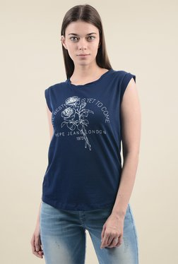 Pepe Jeans Dark Blue Slim Fit Cap Sleeves T-Shirt