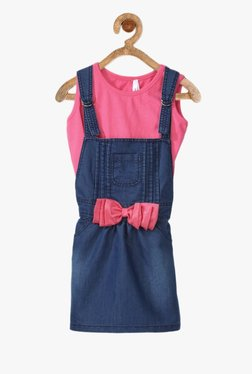 70ad1036fe98 StyleStone Kids Blue   Pink Solid Dungaree With Inner Top