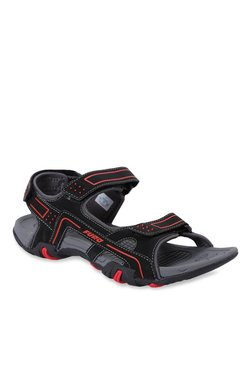 Furo By Red Chief Black & Red Floater Sandal