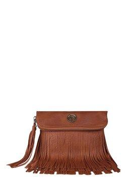 Lino Perros Brown Fringes Sling Bag