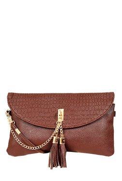 Lino Perros Brown Textured Sling Bag