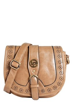 Lino Perros Beige Cut Work Saddle Sling Bag