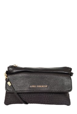 Lino Perros Black Textured Sling Bag